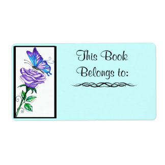 Purple Rose and Butterfly Book Label