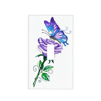 Purple Rose and Butterfly Switch Cover
