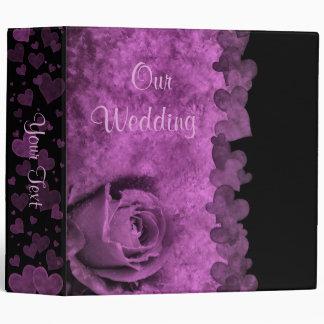 Purple Rose and Hearts Wedding Binder