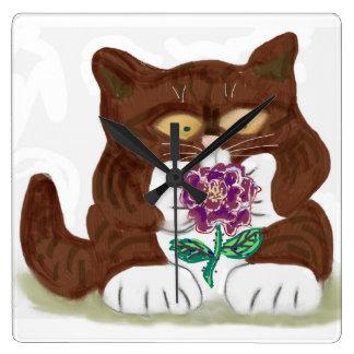 Purple Rose and Kitten Square Wallclocks