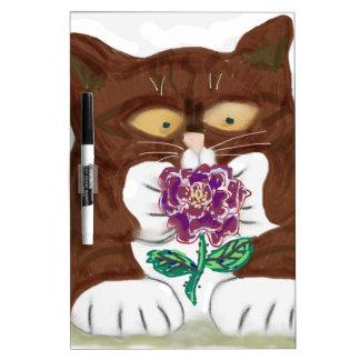 Purple Rose and Kitten Dry-Erase Board