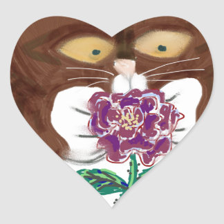 Purple Rose and Kitten Heart Sticker