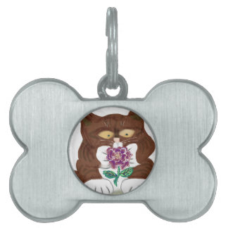 Purple Rose and Kitten Pet Name Tag