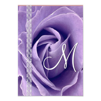 PURPLE Rose and Lace Wedding Linen Template Card
