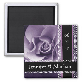 Purple Rose and Lace Wedding Rose Bouquet 2 Inch Square Magnet