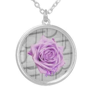 Purple Rose and Music Silver Plated Round Necklace