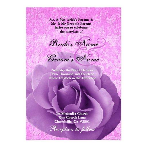 Purple Rose And Pink Damask Wedding Custom Invitations