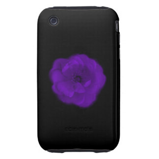 Purple Rose. Black Background. iPhone 3 Tough Covers