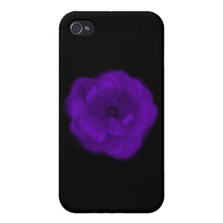Purple Rose Black Background iPhone 4 Cover