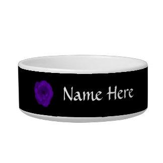 Purple Rose. Black Background. Pet Bowl