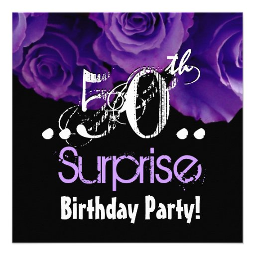 Personalized surprise 50th birthday party invitations purple rose bouquet 50th surprise birthday party invitations filmwisefo