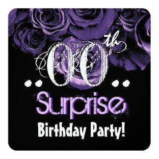 """PURPLE Rose Bouquet Any Year Surprise Birthday 08A 5.25"""" Square Invitation Card"""
