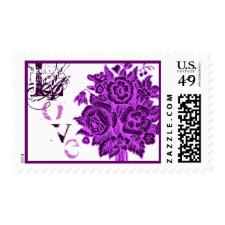 Purple Rose Bouquet Lace Love Postage
