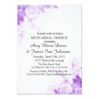 Purple rose bouquet rehearsal dinner invites vr4