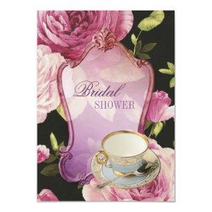 purple rose Bridal Shower Tea Party Invitation 4.5