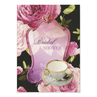 "purple rose Bridal Shower Tea Party Invitation 4.5"" X 6.25"" Invitation Card"