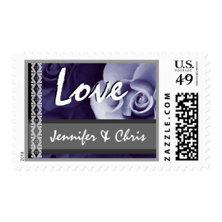 PURPLE Rose Bride & Groom Lace Wedding Stamp