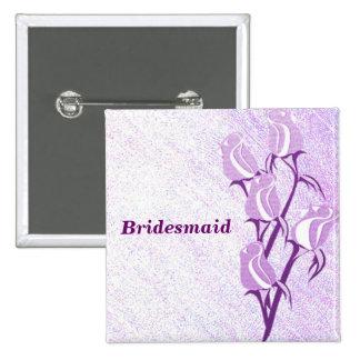 Purple Rose Bridesmaid Button Pin