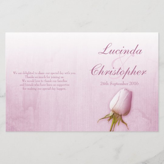 purple rose bud lilac wedding programme zazzle com