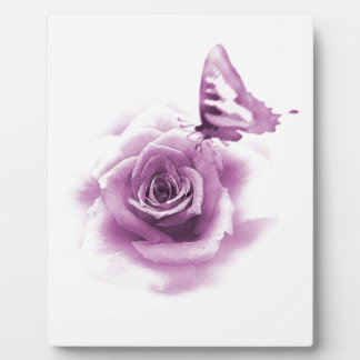 Purple Rose Butterfly Plaque