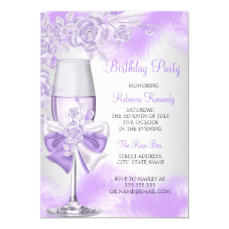 Purple Rose Champagne White Floral Party Card