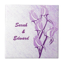 Purple Rose Couple Personalized Tile