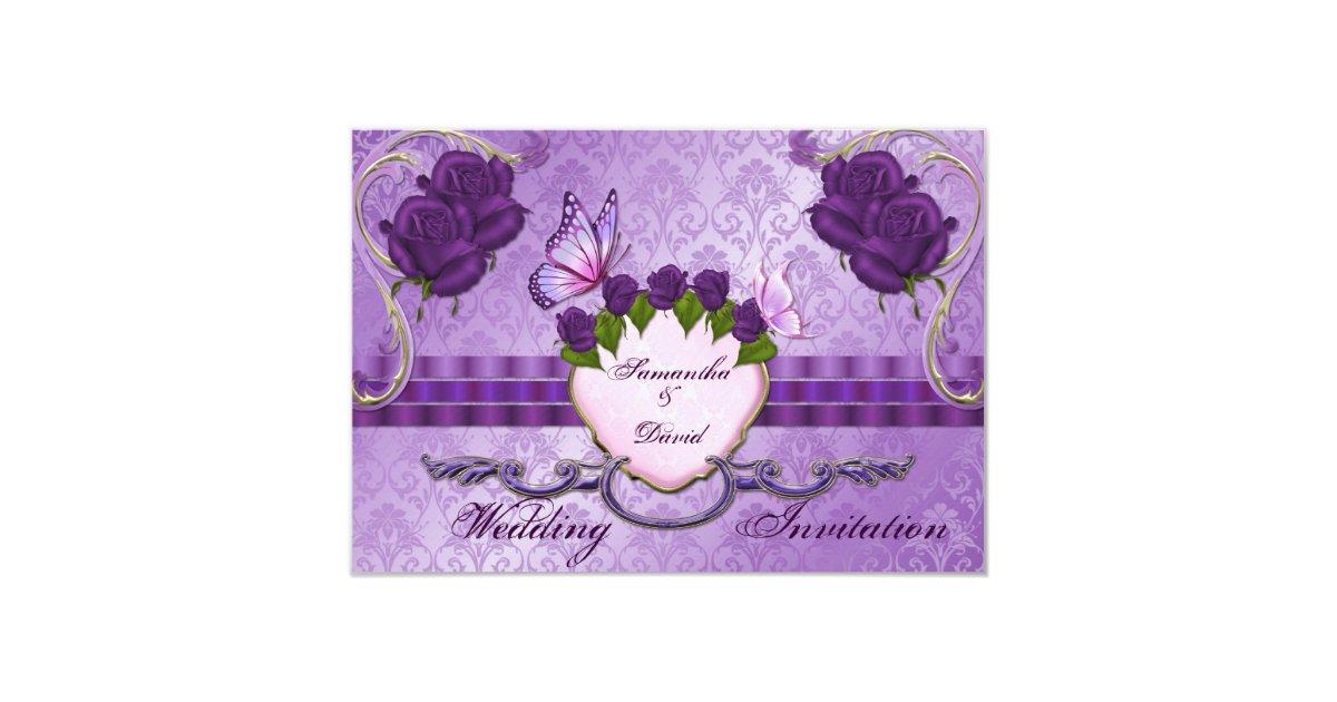 Purple Rose Wedding Invitations: Purple Rose Damask Wedding Invitation Card
