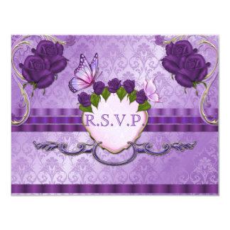 "Purple Rose Damask Wedding RSVP Card 4.25"" X 5.5"" Invitation Card"