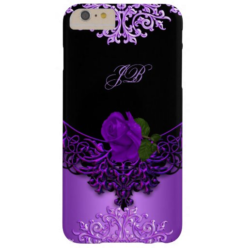 Purple Rose Floral Lace Black Barely There iPhone 6 Plus Case
