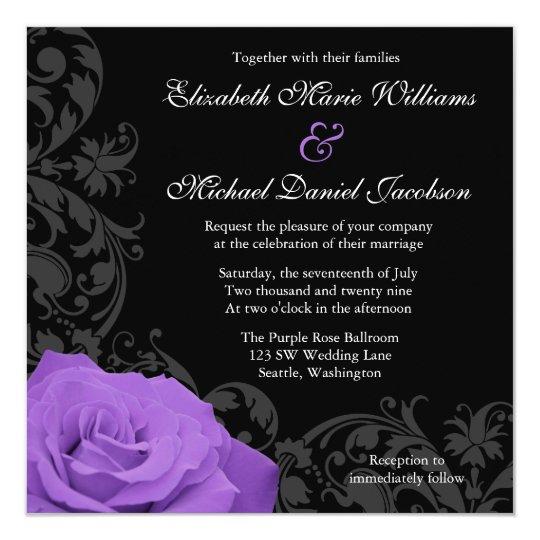 Purple Rose Flourish Wedding Card