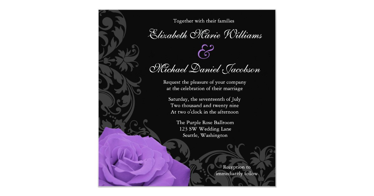 Flourish Wedding Invitations: Purple Rose Flourish Wedding Invitation