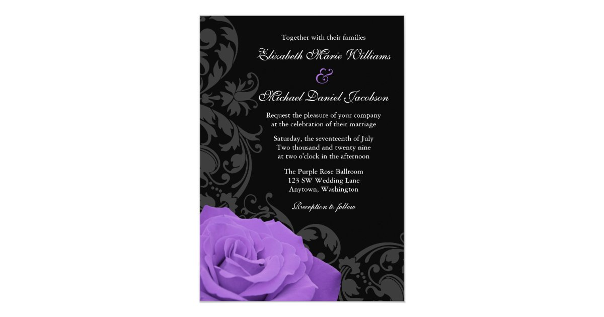 Flourish Wedding Invitations: Purple Rose Flourish Wedding Invitations