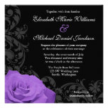 Purple Rose Flourish Wedding Invites