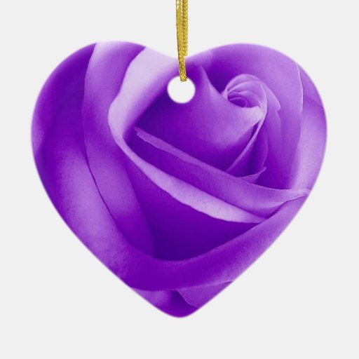 PURPLE Rose Flower Double-Sided Heart Ceramic Christmas Ornament