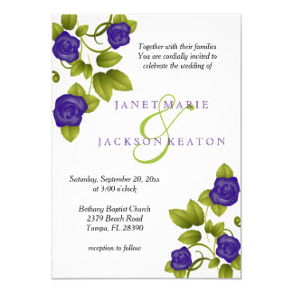 Purple Rose Flower Wedding Invitation