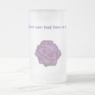 Purple Rose frosted glass mug