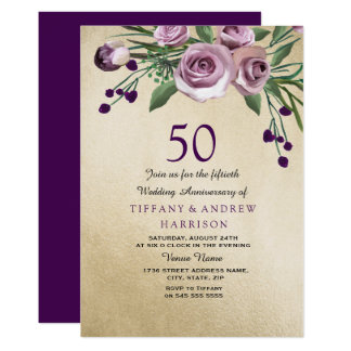 Purple Rose Gold 50th Wedding Anniversary Invite