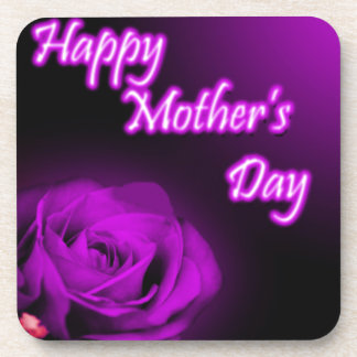 Purple Rose Happy Mother's Day design Drink Coasters