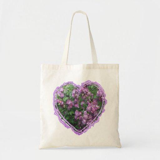 Purple Rose Heart Budget Tote Bag