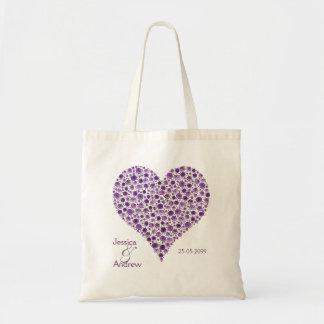 Purple Rose Heart Wedding Favor Gift Bag