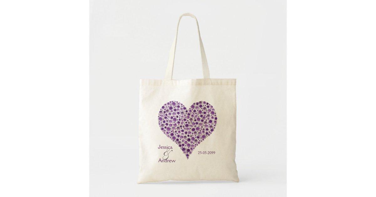 Purple Rose Heart Wedding Favor Gift Bag Zazzle
