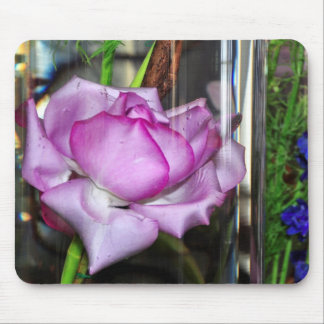 Purple Rose in a Water Filled Glass Mouse Pad