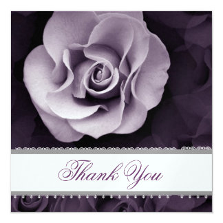 PURPLE Rose Lace Ribbon Wedding Thank You Card