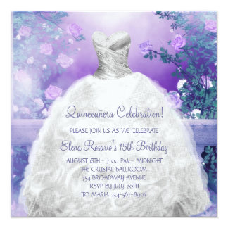 Purple Rose Lavender Purple Quinceanera Card