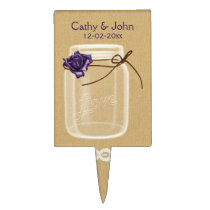 purple rose mason jar personalized cake picks