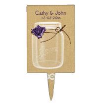 purple rose mason jar personalized cake picks