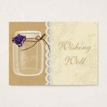 purple rose mason jar  wishing well cards