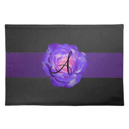 Purple rose monogram place mat