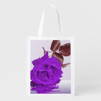 Purple Rose of Fibro Reusable Grocery Bag