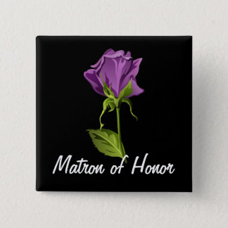 Purple Rose on Black Button